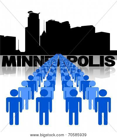 Lines of people with Minneapolis skyline vector illustration