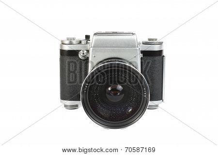 Old Mechanical 50Mm Photo Camera Isolated On White Background