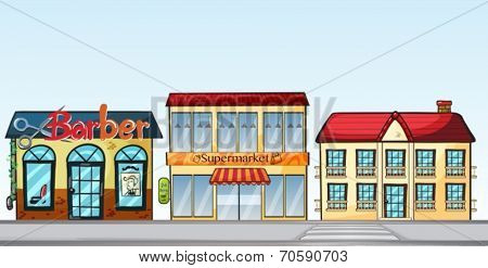 Illustration of many shops on the street