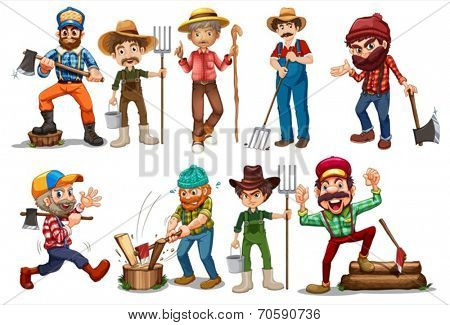 Illustration of farmers and lumberjacks