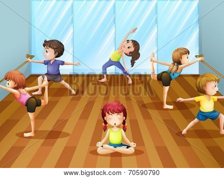 Illustration of children getting ready for a ballet class