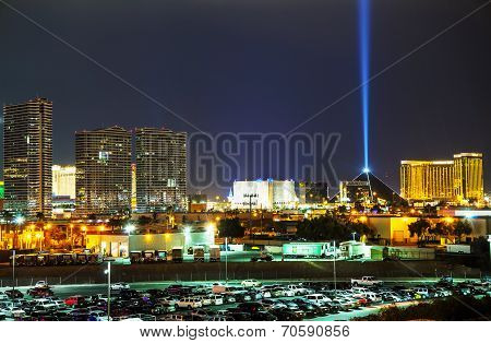 Panoramic Overview Of Downtown Las Vegas In The Evening