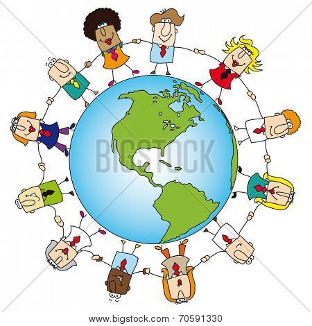 teamwork around the world. A group of  businessmen and businesswomen is holding hands