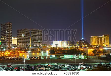 Overview Of Downtown Las Vegas In The Evening