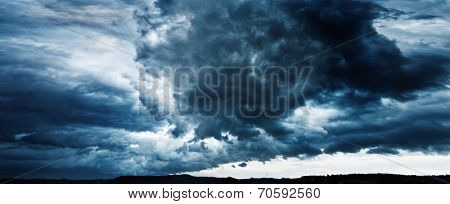 panorama of sky with thunderclouds