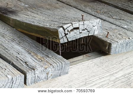 Wooden Deck Plank Warped And Curling Up