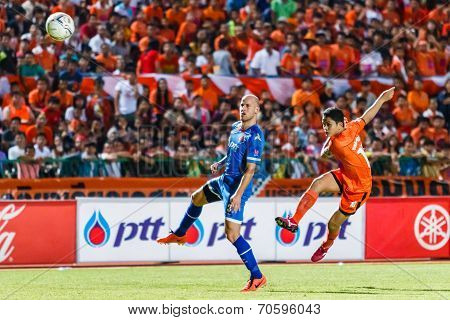 Sisaket Thailand-august 13: Sarayuth Chaikamdee Of Sisaket Fc. (orange) Shooting Ball During Thai Pr