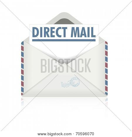 detailed illustration of an open envelope with direct mail letter, eps10 vector