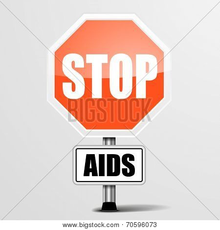 detailed illustration of a red stop AIDS sign, eps10 vector