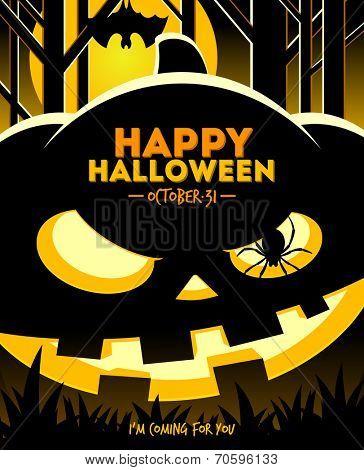 Halloween vector illustration - jack-o-lantern smiling pumpkin in the night forest