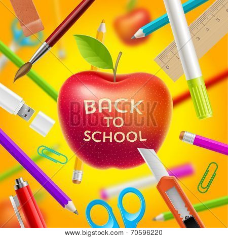 Back to school vector illustration - red apple with greeting and stationery items