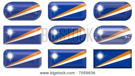 Nine Glass Buttons Of The Flag Of Marshall Islands