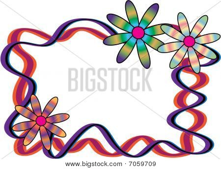 Retro Flowers Frame Background