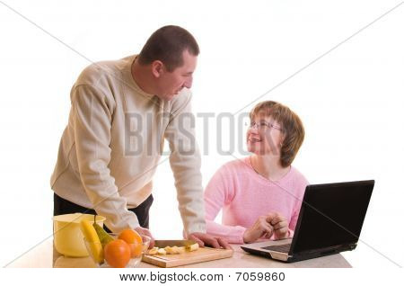 Elderly Couple Make A Dinner