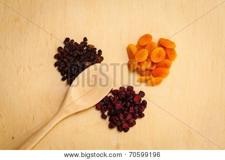 Dried Fruits Raisins Apricots Cranberries On Table
