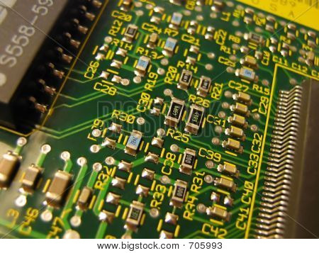 Closeup Of Circuitry On A NIC