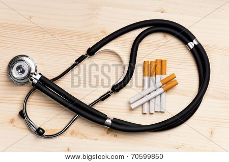 Stethoscope and cigarette