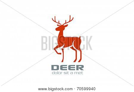Deer Logo silhouette vector design template. Reindeer icon. Wildlife animal logotype.