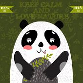 image of panda  - Keep calm and love nature - JPG
