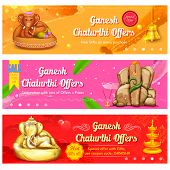stock photo of ganesh  - illustration of banner for Ganesh Chaturthi sale promotion - JPG