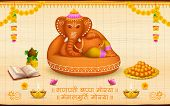 foto of kalash  - illustration of statue of Lord Ganesha made of clay Ganesh Chaturthi with text Ganpati Bappa Morya  - JPG