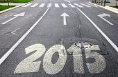 stock photo of arrow  - Road to new year 2015 with arrows in the background - JPG