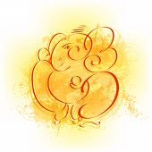 image of ganapati  - easy to edit vector illustration of Lord Ganesha - JPG