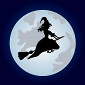 stock photo of sweeper  - The witch on a sweeper - JPG