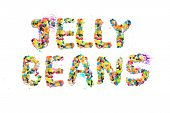 picture of jelly beans  - Spelling out Jelly Beans with a white background - JPG