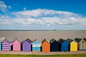 stock photo of herne bay beach  - Colorful beach huts in Herne Bay in England - JPG