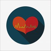 picture of ecg chart  - ECG heart flat icon with long shadow - JPG