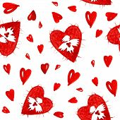 Постер, плакат: Красный Ангелы любви с сердца бесшовные модели
