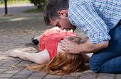 image of resuscitation  - View of first aid on the street - JPG
