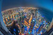 image of skyscrapers  - Dubai Marina at Blue hour - JPG