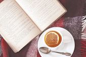 pic of bed breakfast  - Cup of hot tea and reading on a blanket - JPG