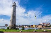 stock photo of coast guard  - Lighthouse and cityscape of Karlskrona - JPG