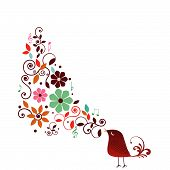 foto of serenade  - Whimsical bird with musical notes and fun flowers - JPG