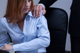 image of inappropriate  - View of woman feeling uncomfortable at work - JPG