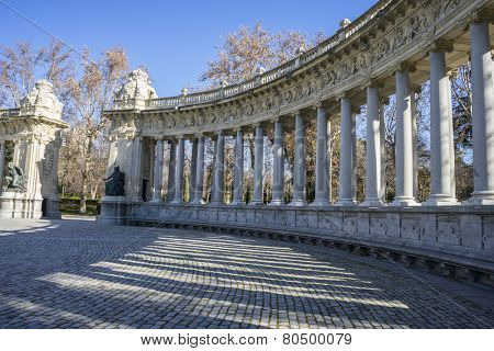 Classic columns gallery, Lake in Retiro park, Madrid Spain