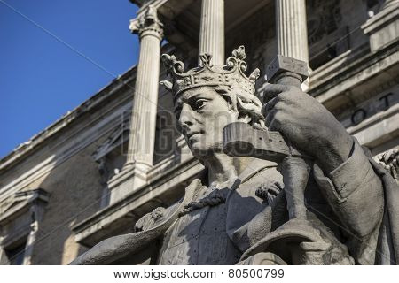 Spanish King, National Library of Madrid, Spain. architecture and art