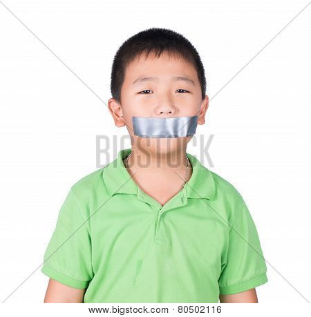Little Boy With Wrapping Adhesive Tape Around Mouth, Rights Of A Child, Isolated On White Background