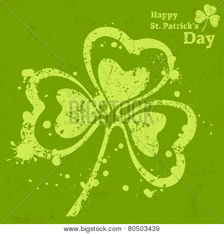 Three Leaf Clover Grunge On Green