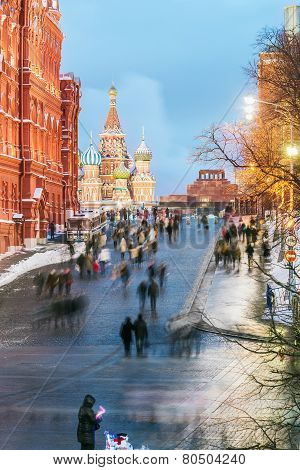 View Of The Red Square And St. Basil's Cathedral On A Winter Evening