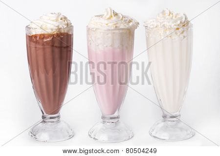 Milkshake cocktail on a white background