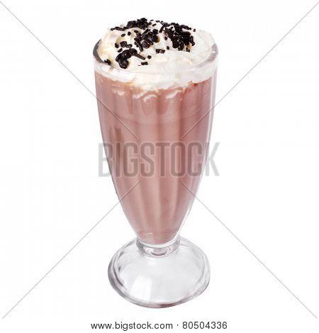Delicious chocolate milkshake on a white background