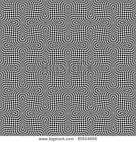 Design Seamless Monochrome Motion Illusion Checkered Background