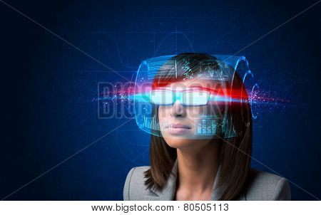 Future woman with high tech smart glasses concept