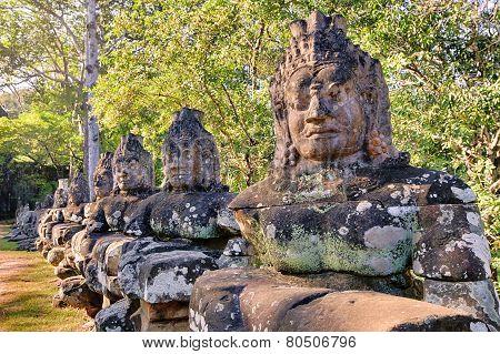 Prasat Bayon temple gate statues, Angkor, Cambodia