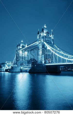 Tower Bridge in London in blue tone at night.