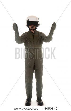 military pilot marshaling aircraft